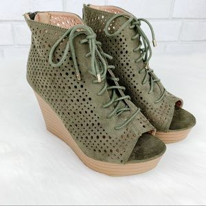 Report Olive Green Peep Toe Lace Up Rio Wedges
